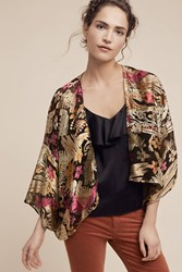 Anthropologie Floral Satin Burnout Kimono Black