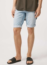 Topman Light Wash Skinny Jean Shorts Blue
