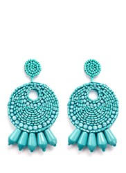 Kenneth Jay Lane Beaded Gypsy Hoop Earrings Blue