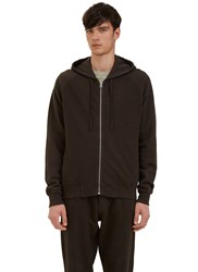 Les Basics Reverse Side Loopback Fleeced Zip Up Hooded Sweater Brown