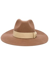 Ps Paul Smith Wide Brim Fedora Brown