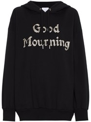 Ashish Good Mourning Bead Embellished Hoodie Black