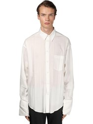 Balenciaga Pleated Cotton Shirt W Logo Embroidery White