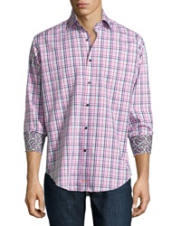 Thomas Dean Chain Link Plaid Long Sleeve Sport Shirt Berry
