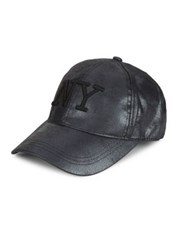 August Hats Ny Embroidered Baseball Cap Black