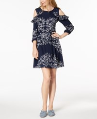 Maison Jules Printed Cold Shoulder Dress Created For Macy's Blue Notte Combo