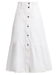 Valentino High Waisted Denim Skirt White