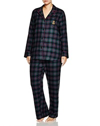 Lauren Ralph Lauren Plus Madison Avenue Brushed Twill Pajama Set Green Plaid