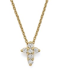 Roberto Coin 18K Yellow Gold Small Cross Necklace 16 White Gold
