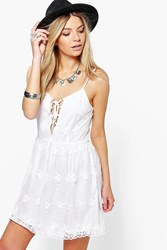 Boohoo Charlotte Lace Skater Dress Cream