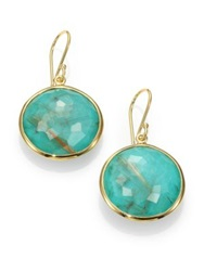 Ippolita Lollipop Turquoise Rutilated Quartz And 18K Yellow Gold Large Doublet Drop Earrings