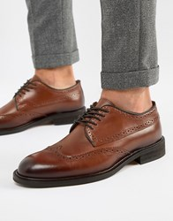 Selected Homme Leather Brogue Shoe Brown