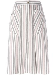 Isabel Marant Striped Skirt White