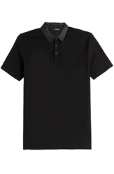 The Kooples Cotton Polo Shirt With Leather Collar