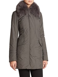 Post Card Menkar Fur Trimmed Puffer Coat Charcoal