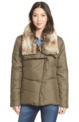 Women's Hawke And Co. Asymmetrical Down Jacket With Faux Fur Collar