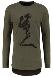 Religion Praying Skull Long Sleeved Top Forest Green Grey