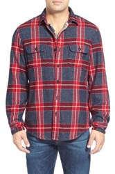 Wallin And Bros Thermal Lined Trim Fit Plaid Flannel Shirt Jacket Red