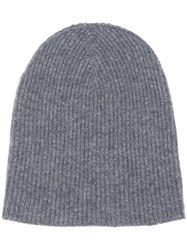 Roberto Collina Cashmere Knitted Beanie Grey