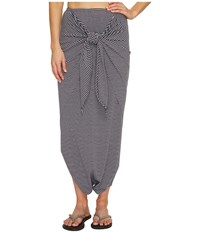 Manduka Harem Wrap White Dark Grey Stripe Women's Skirt Gray