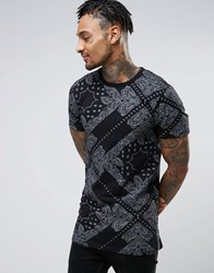 Asos Longline T Shirt With All Over Bandana Print And Side Zips Black