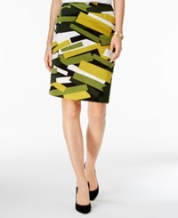 Nine West Printed Pencil Skirt Citron Multi