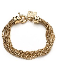 Anne Klein Brass Ball Layered Chain Bracelet Gold