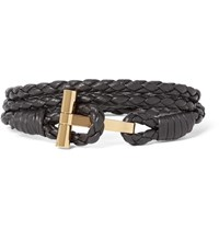 Tom Ford Woven Leather And Palladium Plated Wrap Bracelet Brown