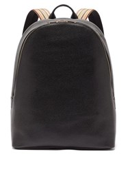 Paul Smith Artist Stripe Grained Leather Backpack Black