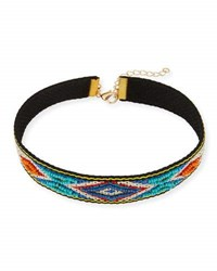 Panacea Embroidered Choker Necklace Blue Orange Multi