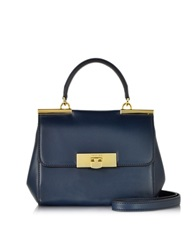 Michael Kors Marlow Genuine Leather Small Satchel Navy Blue