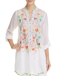 Johnny Was Nikki Embroidered Tunic White