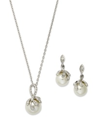 Charter Club Silver Tone Glass Crystal Drop Earring And Necklace Set
