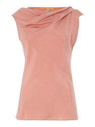 Hugo Boss Sleeveless Top With Cowl Neck And Drape Pink