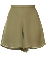 Sally Lapointe Flared Evening Shorts Women Silk 2 Green