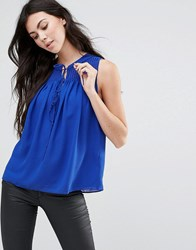Greylin Lawrence Pintucked Blouse Cobalt Blue