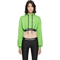 Palm Angels Green Cropped New Basic Hoodie