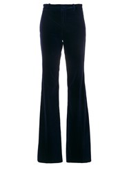 Gucci Classic Flared Trousers Women Cotton Polyester Spandex Elastane Viscose 38 Blue