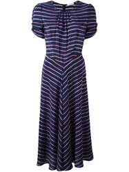 Altuzarra Ruffle Sleeve Dress Blue