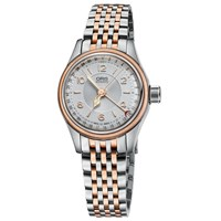 Oris 01 594 7695 4361 07 8 14 32 Women's Big Crown Pointer Date Bracelet Strap Watch Silver Rose Gold
