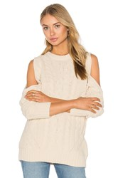 Endless Rose Open Shoulder Sweater Beige