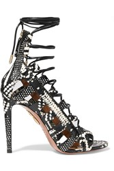Aquazzura Amazon Lace Up Elaphe Sandals Black