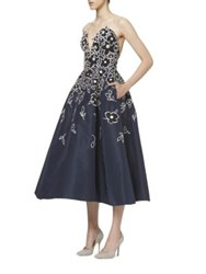 Carolina Herrera Flower Embroidered Cocktail Dress Navy
