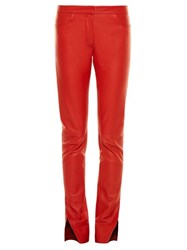Loewe Mid Rise Slit Hem Leather Trousers Red
