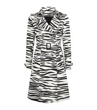 Burberry Zebra Print Cotton And Silk Trench Coat Female White