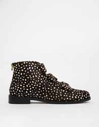 F Troupe Spotted Pony Bow Flat Ankle Boots Blackwhite