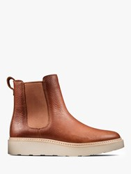 Clarks Trace Cora Leather Slip On Chelsea Boots Chestnut
