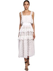 Elie Saab Cotton Lace And Poplin Long Dress White