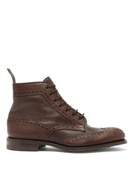 Tricker's Adstone Grained Leather Brogue Boots Brown