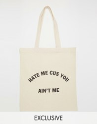 Reclaimed Vintage Hate Me Tote Bag Cream